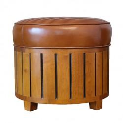 Pouf canoë rond cuir vintage