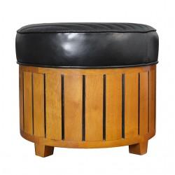 Pouf canoë rond cuir noir