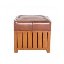 Pouf canoë carré cuir vintage