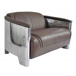 Canapé DC3 cuir gris taupe