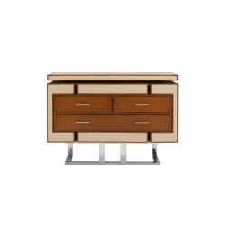 Commode azur cuir beige