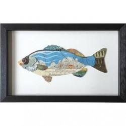 Tableau collage poisson 4