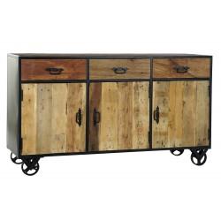 Commode bois recyclé métal