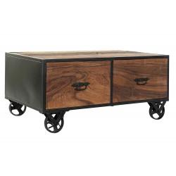 Table basse bois recyclé métal