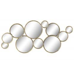 Miroir métal cercles doré
