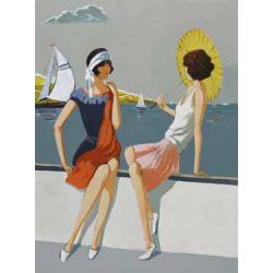 Femme sur fond marins